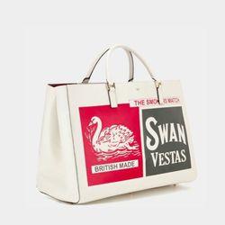 Anya Hindmarch Ebury Maxi Feather Swan Vestas Tote, $2,295