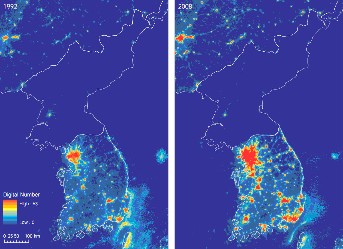 One map that shows just how poor north korea is vox light intensity north korea gumiabroncs Image collections
