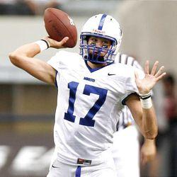 Bingham's Ty Hannay passes as Bingham plays Trinity Monday in the Kirk Herbstreit Varsity Football Series at Cowboys Stadium.