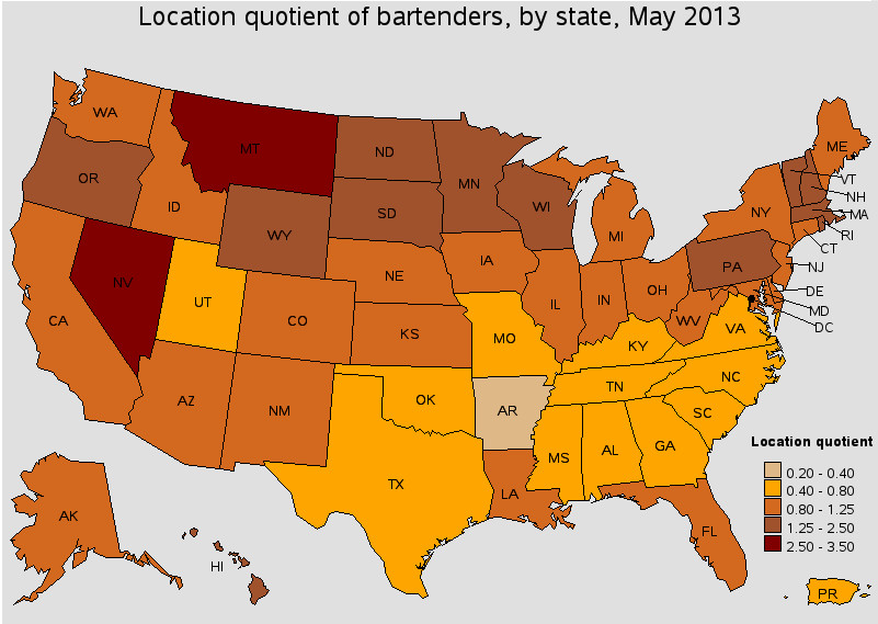 Bartender Location quotient