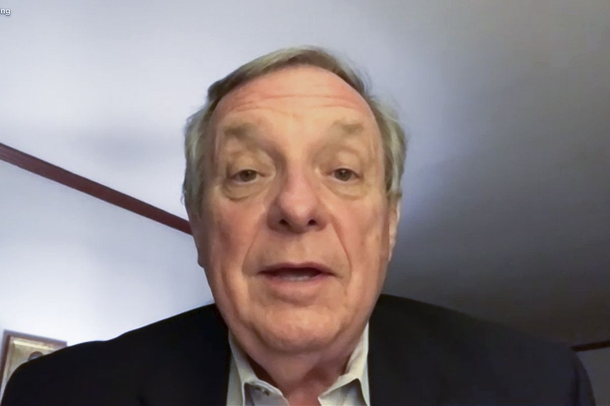 Sen. Dick Durbin addresses reporters on a video call on Election Night as he heads toward a fifth term in the Senate.