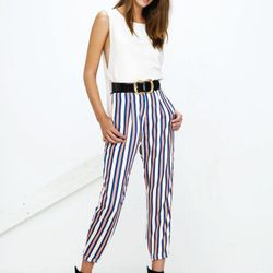 The Sleek top in white and Demure trousers in stripe.
