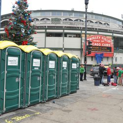 Event porta-potties in front of the Cubs Store