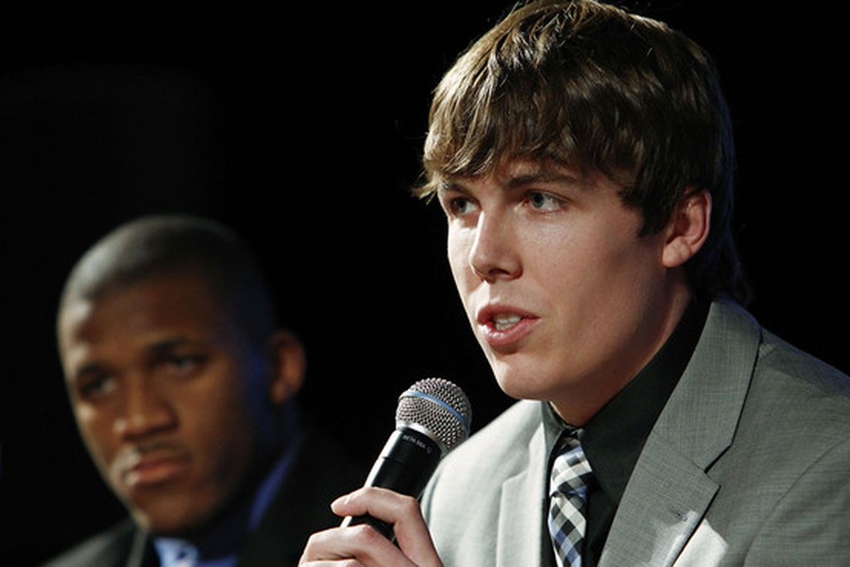 NEW YORK - DECEMBER 11:  2010 Heisman Trophy candidate Kellen Moore of the Boise State University Broncos speaks at a press conference at The New York Marriott Marquis on December 11 2010 in New York City.  (Photo by Jeff Zelevansky/Getty Images)