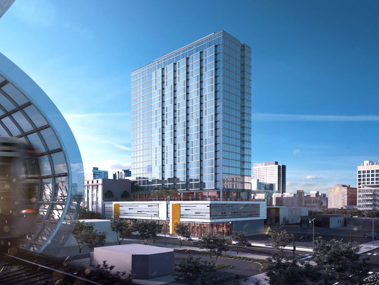 A rendering of 2111 S. Wabash Avenue as seen from the nearby Cermak-McCormick Place CTA Green Line station.