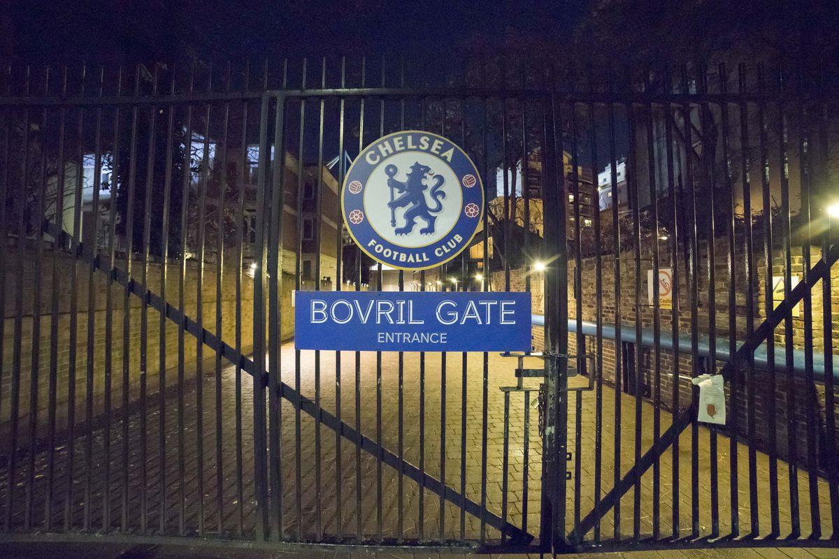 The Bovril gate seen at Stamford Bridge stadium home of...