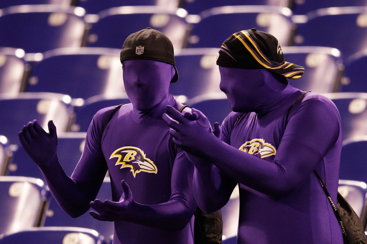 BALTIMORE, MD - NOVEMBER 24:  Baltimore Ravens fans sit in the stands prior to their game against the San Francisco 49ers at M&T Bank Stadium on November 24, 2011 in Baltimore, Maryland.  (Photo by Rob Carr/Getty Images)