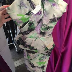 Patterned cocktail dress, $600