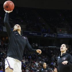 UConn's Gabby Williams warms up before their Sweet 16 matchup with Duke.