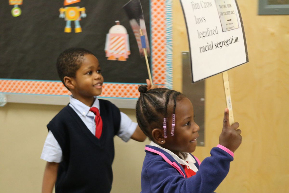 Kindergartners at New American Academy Charter School in Canarsie learned about the civil rights movement and Martin Luther King Jr. by staging a peaceful march in the school hallway.
