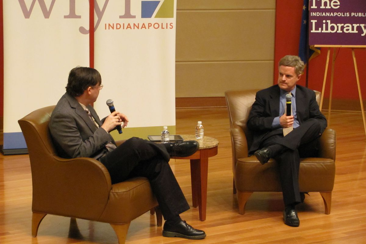 WFYI Education Reporter Eric Weddle talks to Civic Enterprises CEO John Bridgeland Tuesday at the Indianapolis Public Library about a new report on the national dropout problem.