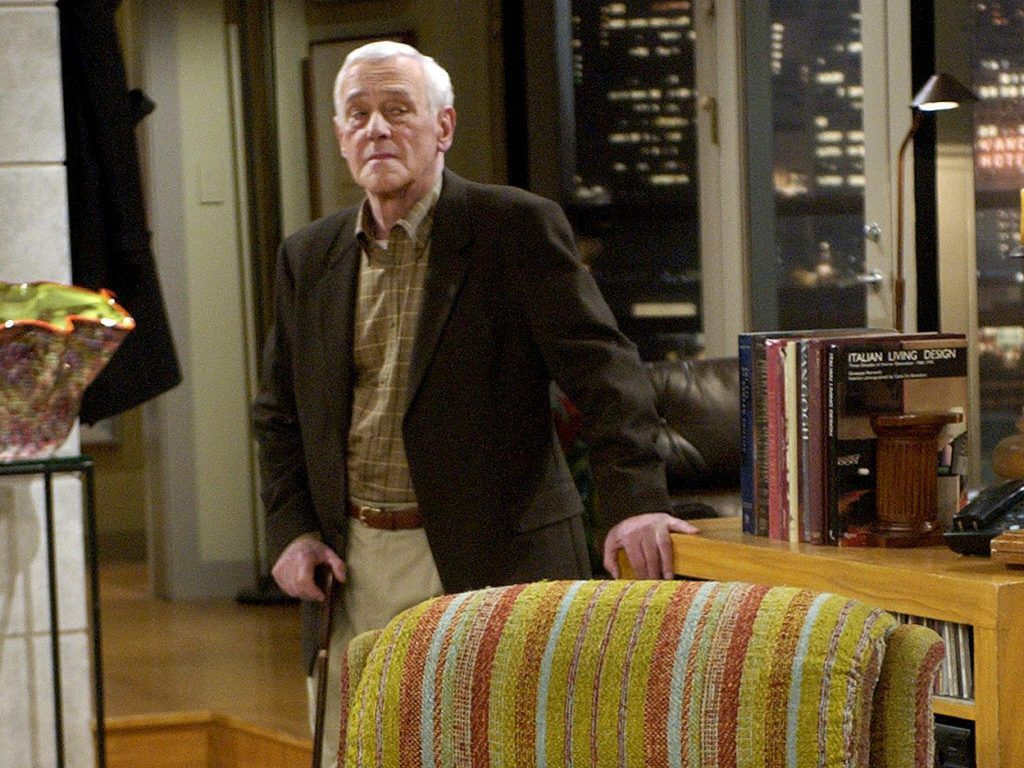 """In this March 23, 2004 file photo, John Mahoney, who stars as Martin Crane, appears on the set during the filming of the final episode of """"Frasier"""" in Los Angeles.   AP Photo/Reed Saxon, File"""