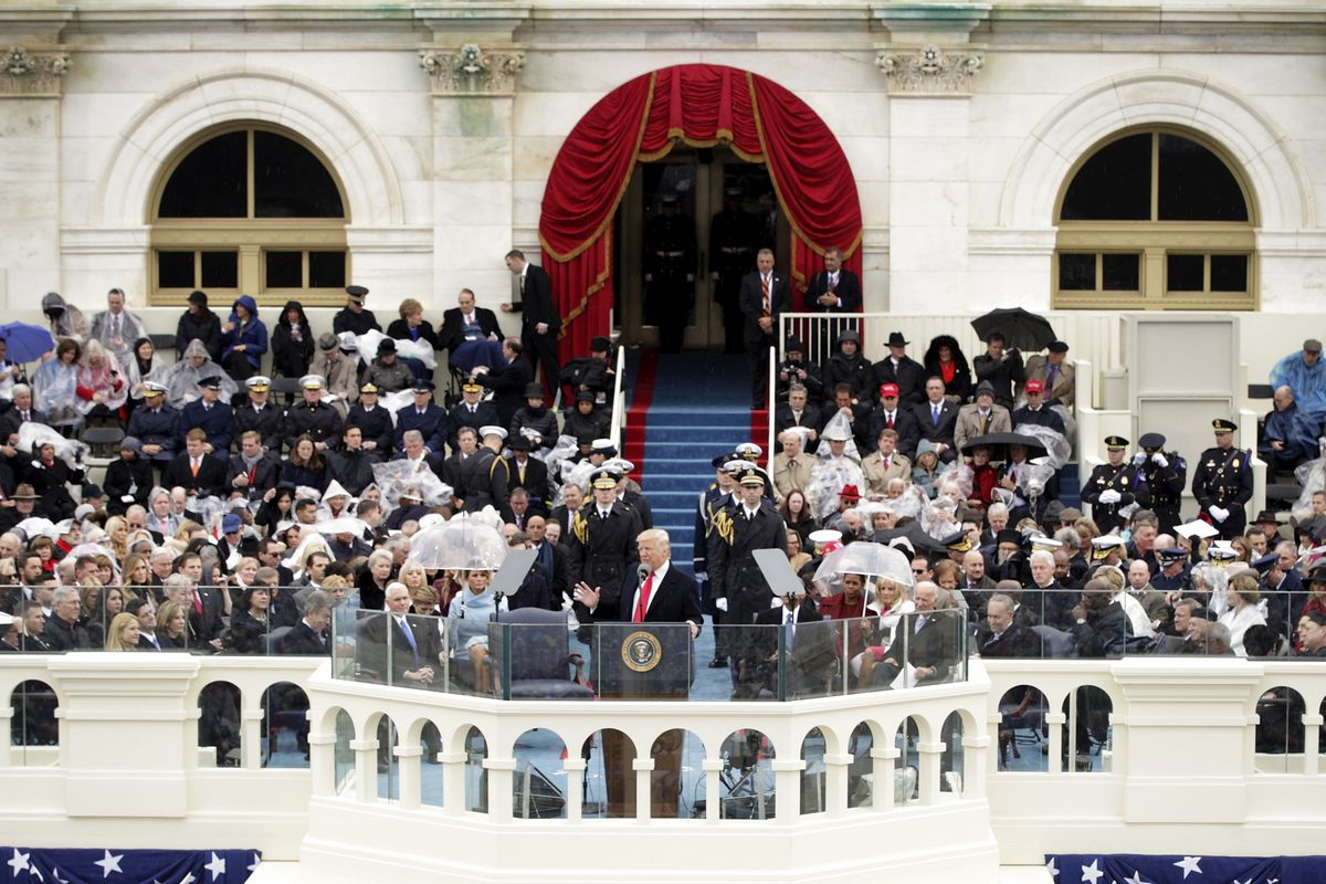 President Donald Trump delivers his inaugural address on the West Front of the U.S. Capitol on January 20, 2017 in Washington, DC. In today's inauguration ceremony Donald J. Trump becomes the 45th president of the United States.