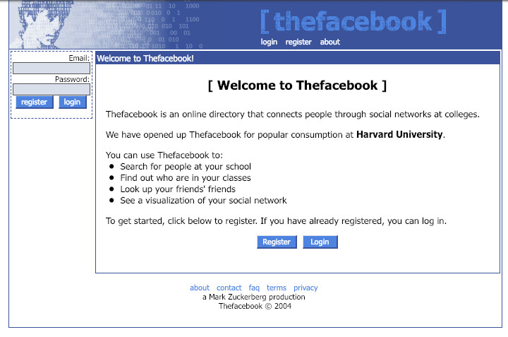 A 2004 homepage for Thefacebook.com