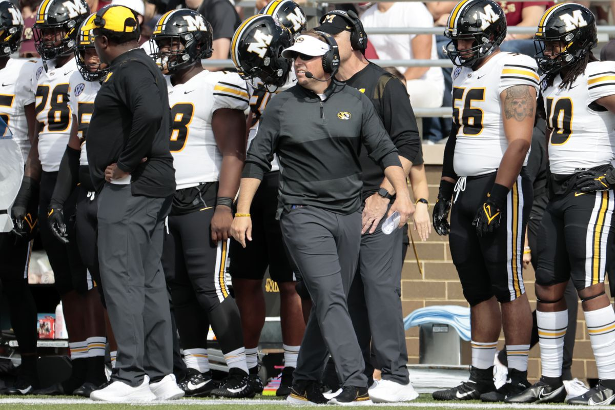 Missouri Tigers head coach Eliah Drinkwitz looks on during a game between the Boston College Eagles and the Missouri Tigers on September 25, 2021 at Alumni Stadium in Chestnut Hill, Massachusetts.