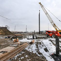 Construction continues on the new Hale Centre Theatre as work begins on the new Mountain America Credit Union Corporate offices in Sandy. Commercial construction in Sandy and Lehi on Wednesday, Dec. 21, 2016.