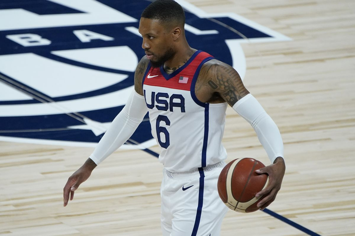 Damian Lillard plays against Spain in an exhibition match before the Olympics, Sunday, July 18, 2021, in Las Vegas.