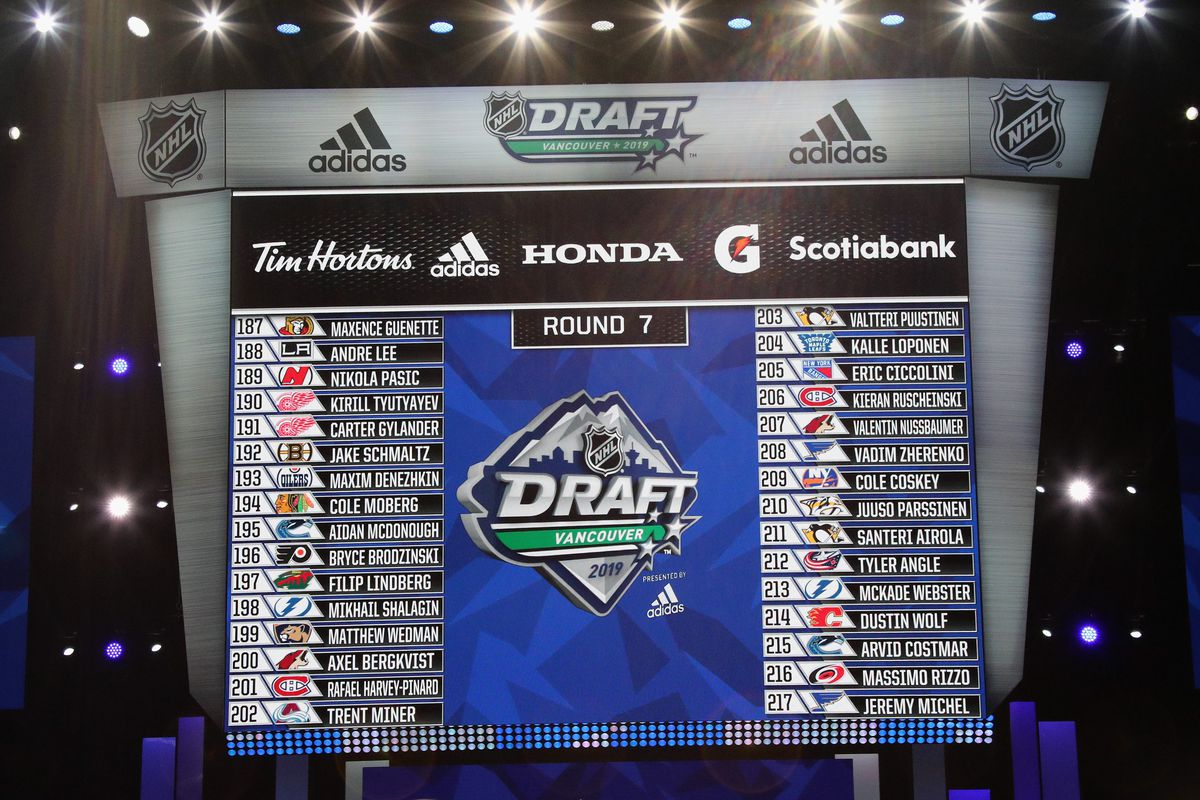 A view of the Round Seven draft board during the 2019 NHL Draft at Rogers Arena on June 22, 2019 in Vancouver, Canada.