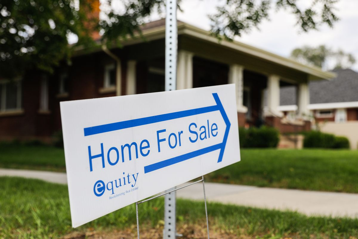 A home for sale sign is displayed outside of a house in the Sugar House neighborhood of Salt Lake City, Thursday, Sept. 23, 2021.