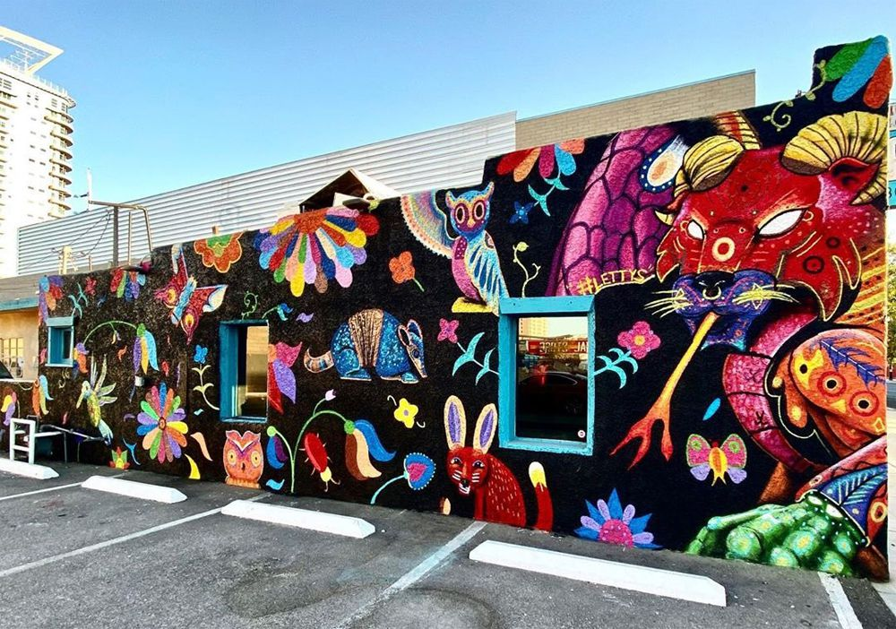The new mural at Letty's De Leticia's Cocina mural created by Snipt, Tony Castillo and Yournameiswhatnow.