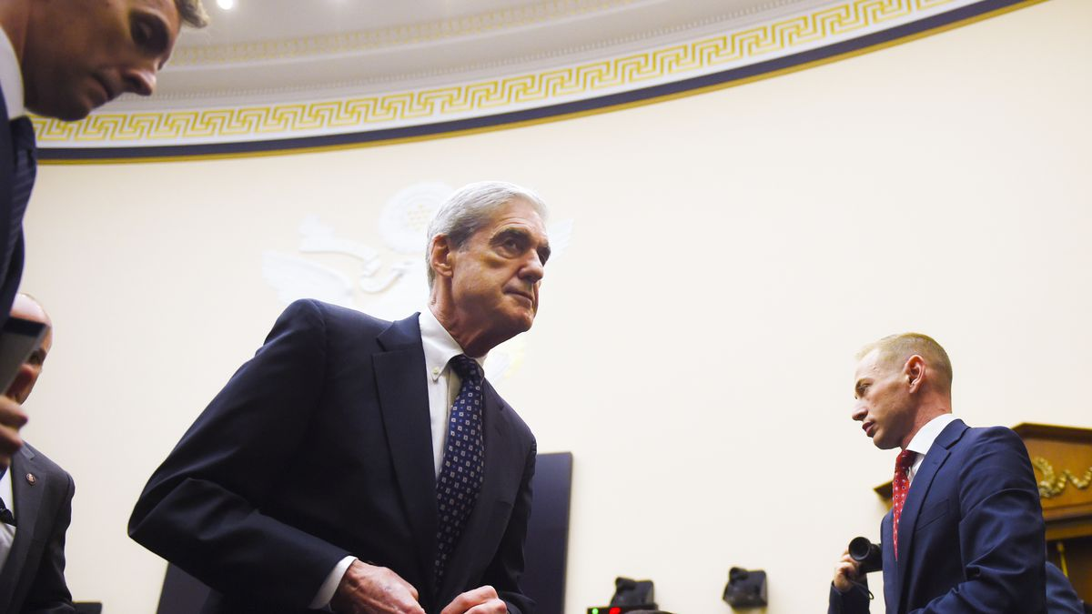 Robert Mueller leaves after his first session of testimony before the House Judiciary Committee on July 24, 2019.