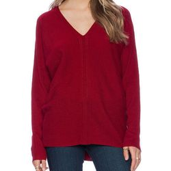 """Vince ladder stitch double v sweater, <a href=""""http://www.revolveclothing.com/vince-ladder-stitch-double-v-sweater-in-claret/dp/VINCE-WK265/""""target=""""_blank"""">$345</a> at Revolve Clothing"""