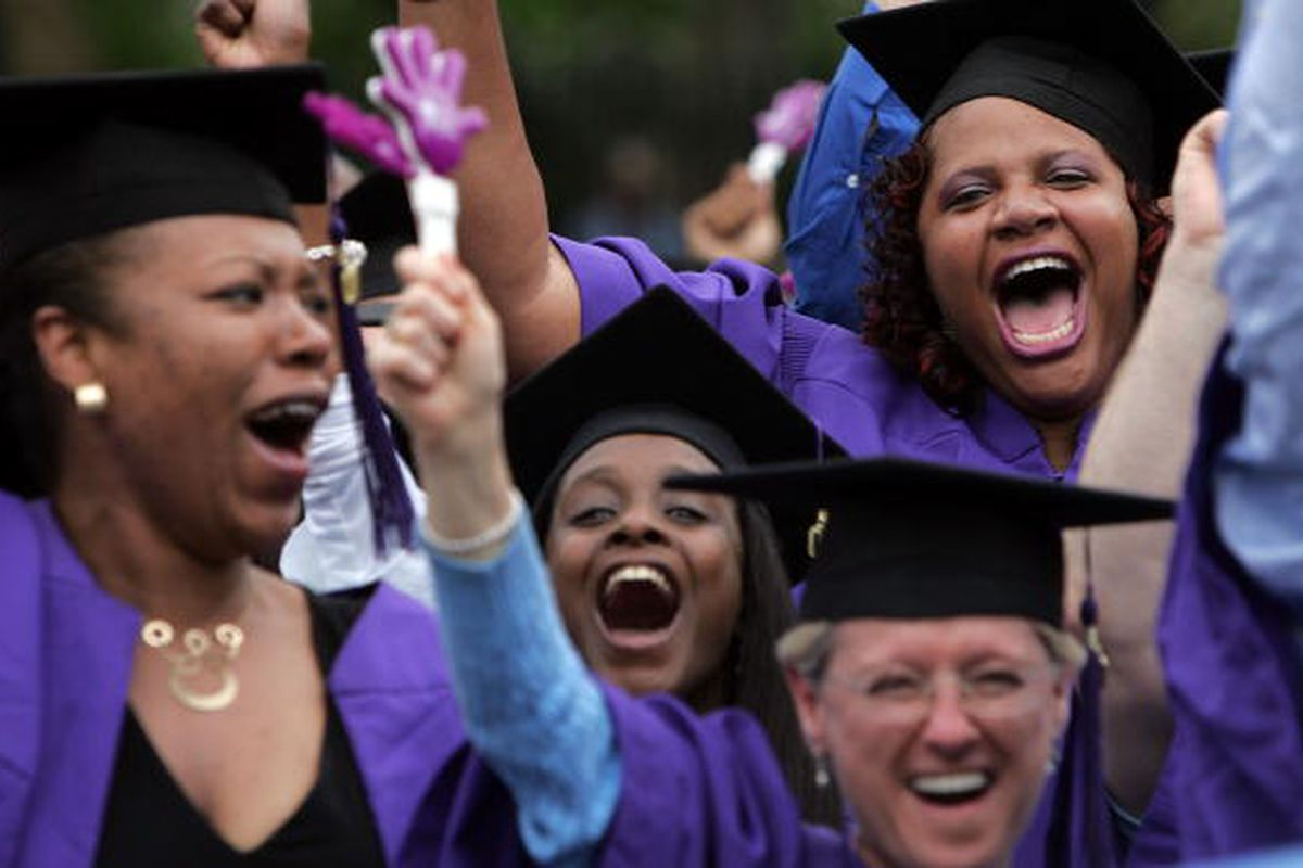Students at New York University's commencement in 2007. The typical college student isn't a fresh-faced high school graduate anymore.