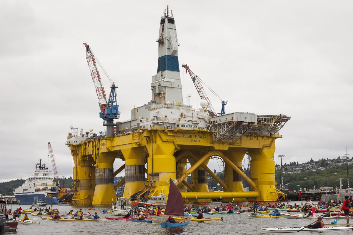 ShellNo flotilla participants float near the Polar Pioneer oil drilling rig during demonstrations against Royal Dutch Shell on May 16, 2015, in Seattle, Washington.