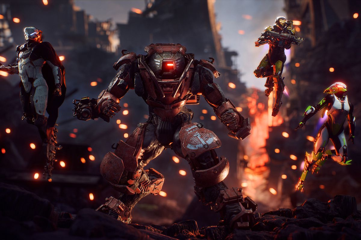 Four Javelins stand abreast in wreckage in a screenshot from Anthem.