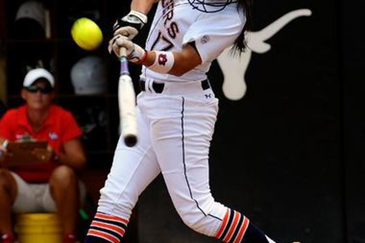 Auburn's Brandi Merelo hit a solo home run in Saturday's NCAA Regional loss to Texas. It was her second of the Tournament. (<em>photo,Todd Van Erns</em>t)
