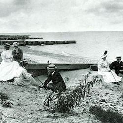 People at sitting at the beach near Foster Avenue in the 1920's.   Provided by The Edgewater Historical Society.
