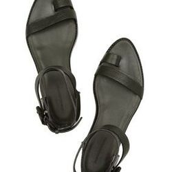 """<a href=""""http://www.theoutnet.com/product/242789"""">Shalom textured-leather sandals</a>, $160 (were $400)"""