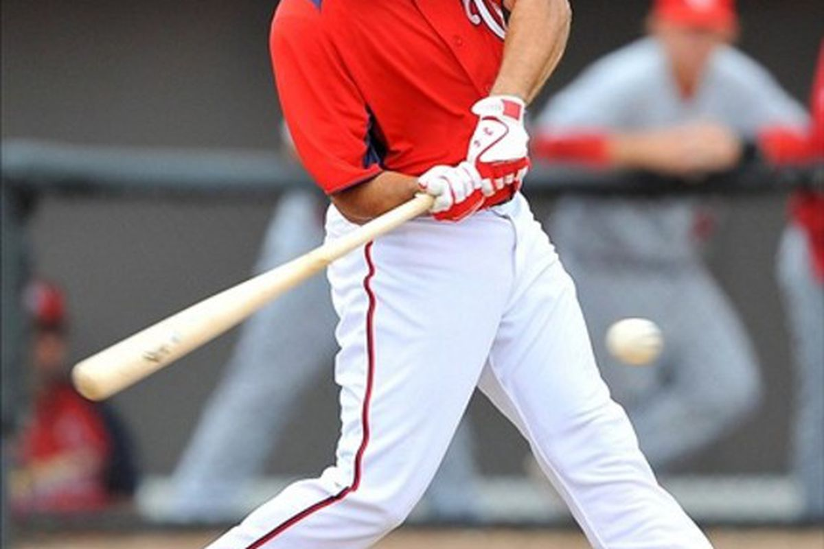 March 07, 2012; Melbourne, FL, USA;   Washington Nationals third baseman Anthony Rendon (6) at bat during the spring training game against the St. Louis Cardinals at Space Coast Stadium. Mandatory Credit: Brad Barr-US PRESSWIRE