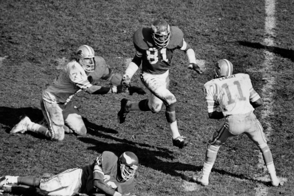 Minnesota Vikings pro football star Carl Eller is shown in action against the Detroit Pistons, Oct 9, 1977. Carl Eller was selected January 31, 2004, for the Pro Football Hall of Fame. See article Sun Feb 1, 2004, page C1. Minneapolis Tribune (now Star Tr
