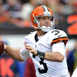 Cleveland Browns quarterback Brandon Weeden (3) looks to pass in the first quarter of an NFL football game against the Buffalo Bills Sunday, Sept. 23, 2012, in Cleveland. Weeden threw two interceptions and was sacked four times in a 24-14 loss to the Bills.