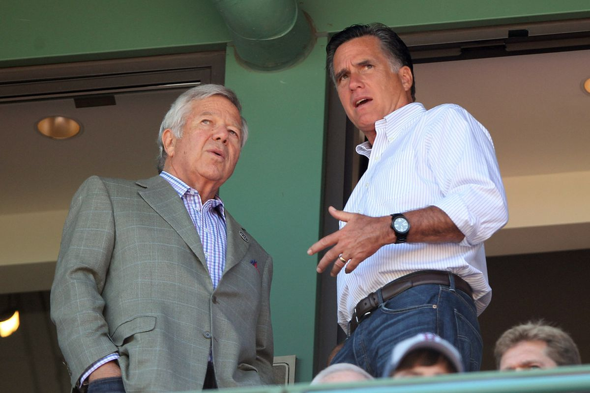 John Farrell--oops Mitt Romney--at Fenway Park with the owner of the New England Patriots.
