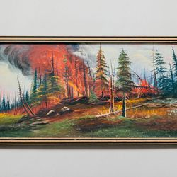 1940's Forest Fire Painting, $195