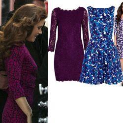 "Diane von Firstenberg Zarita Lace Dress, $441 at <a href=""http://www.boutique1.com/zarita-lace-dress-207912"">Boutique 1</a>; Thakoon Addition Blue Floral Criss Cross Dress, $590 at <a href=""http://www.avenue32.com/features/shop-story-style-steals/blue-flo"