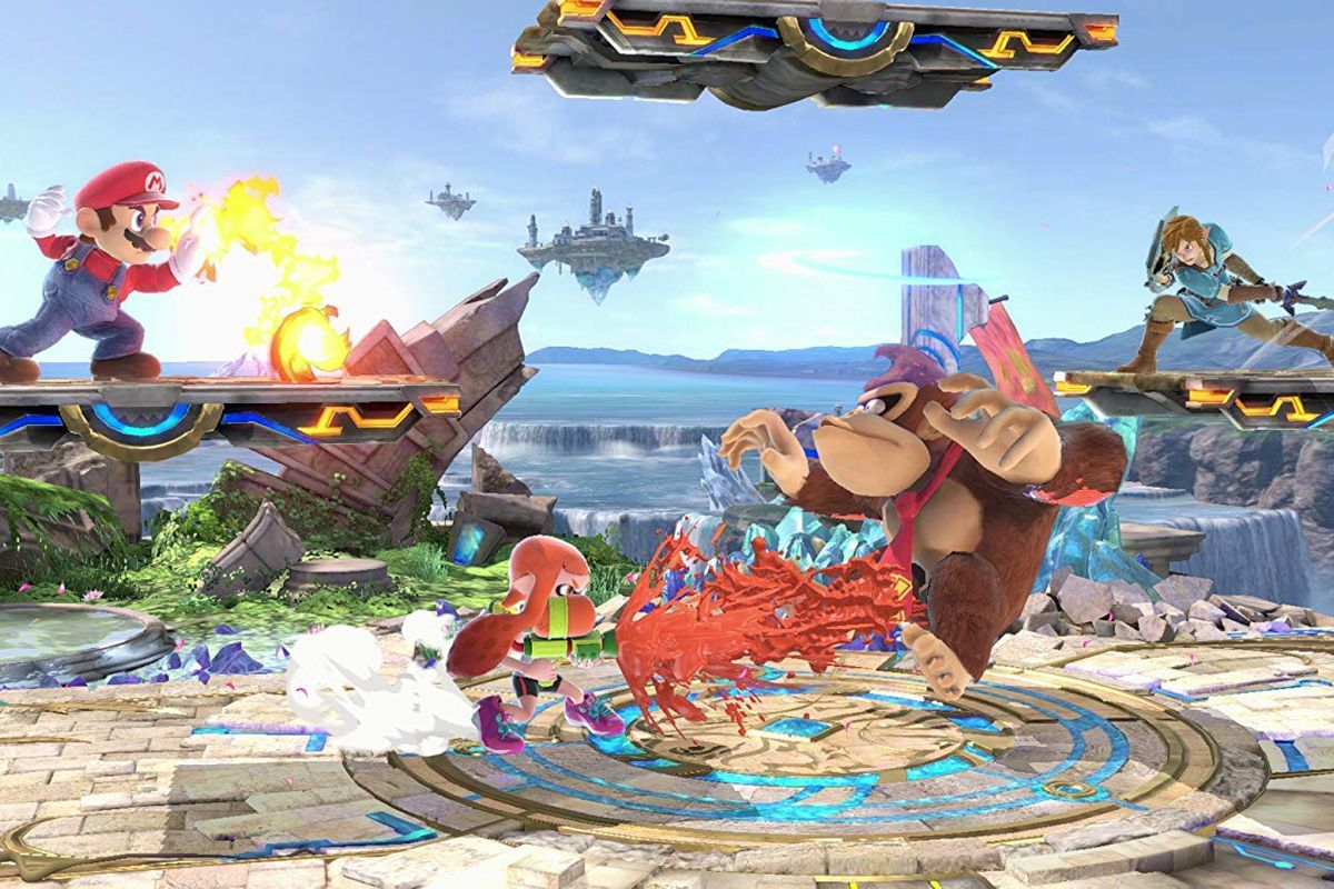 Super Smash Bros. Ultimate —Mario, Donkey Kong, Inkling and Link flighting on a stage