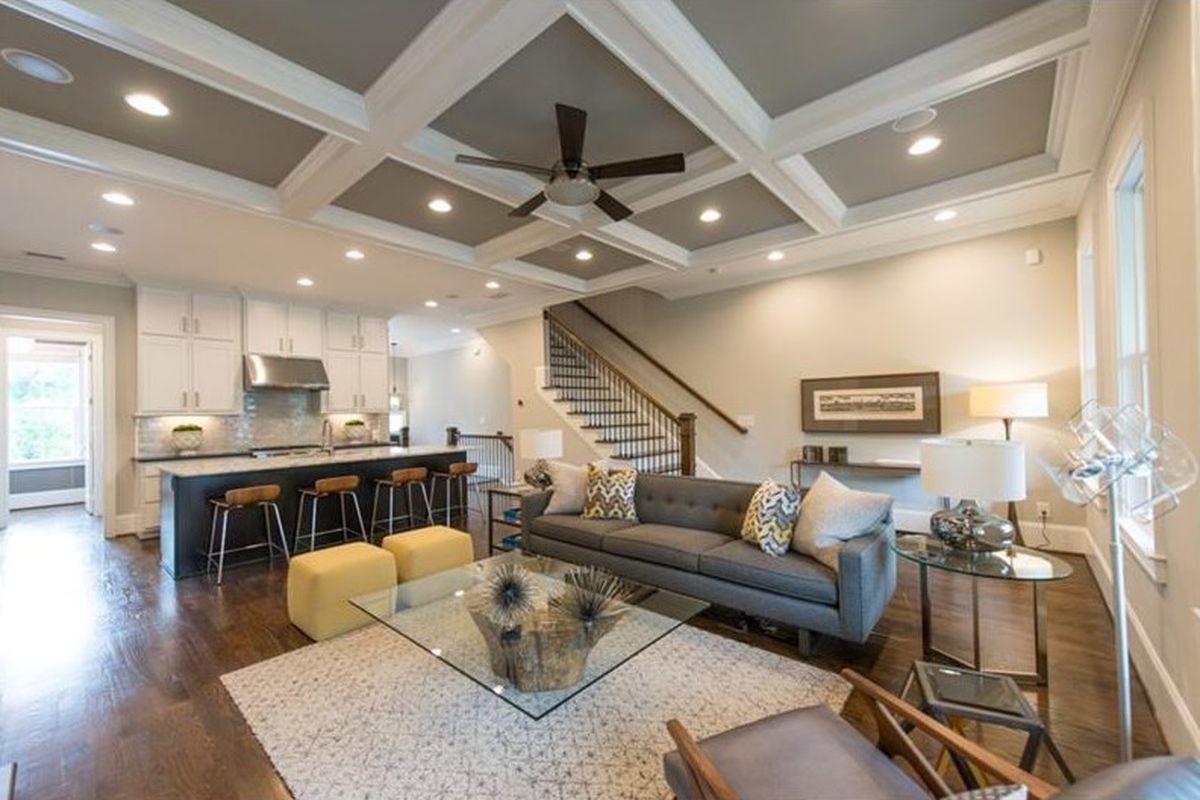Living room is adjacent to the kitchen in this Underwood Hills townhouse.