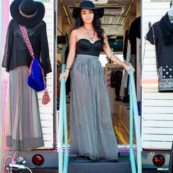 Xela Gaerlan at the Top Shelf fashion truck; Why we love her look: a satin bustier strikes the right balance with voluminous sheer striped palazzo pants.