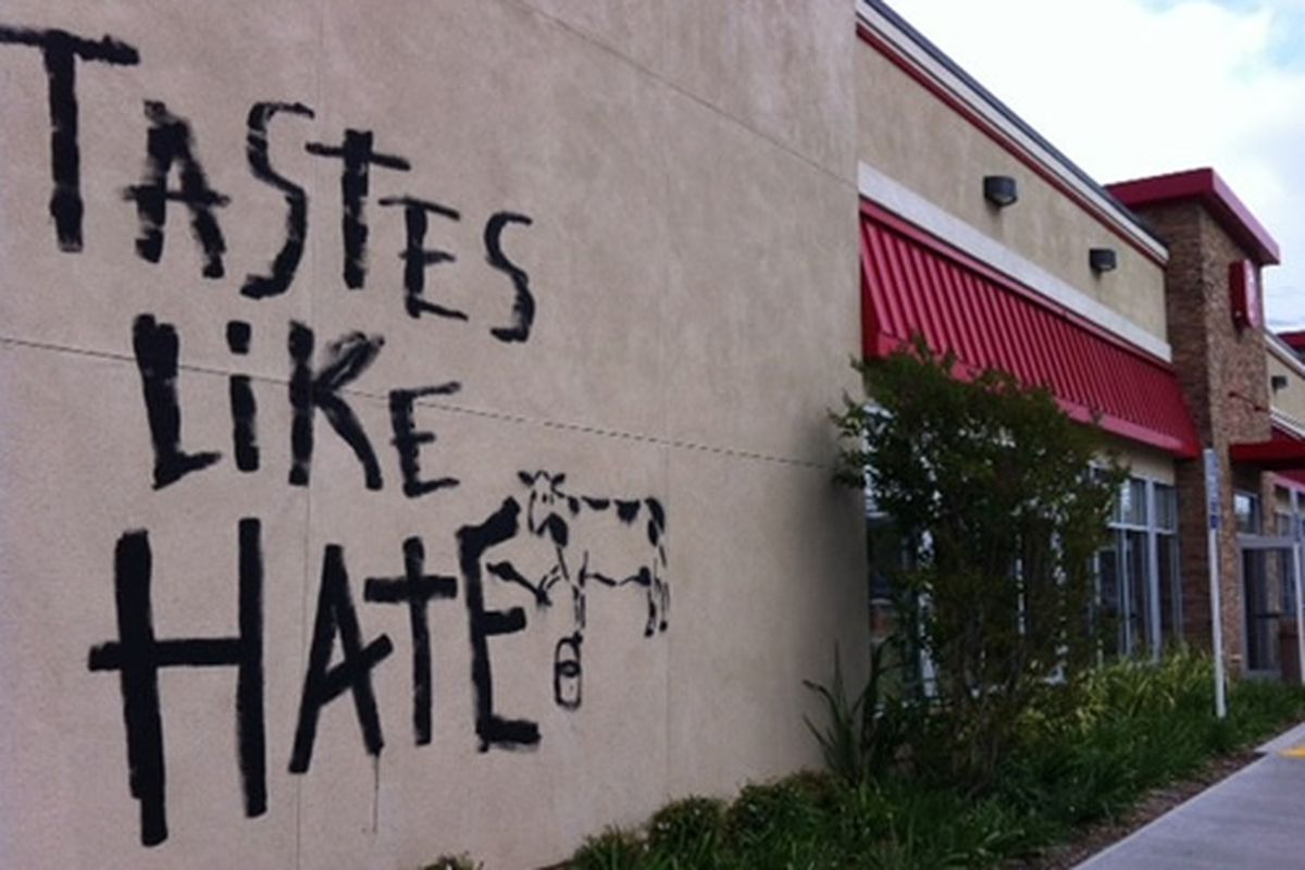 CA Chick-fil-A Graffitied With 'Tastes Like Hate' - Eater