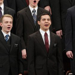 Elder David Archuleta sings with a missionary choir during the 182nd Annual General Conference for The Church of Jesus Christ of Latter-day Saints in Salt Lake City  Saturday, March 31, 2012.