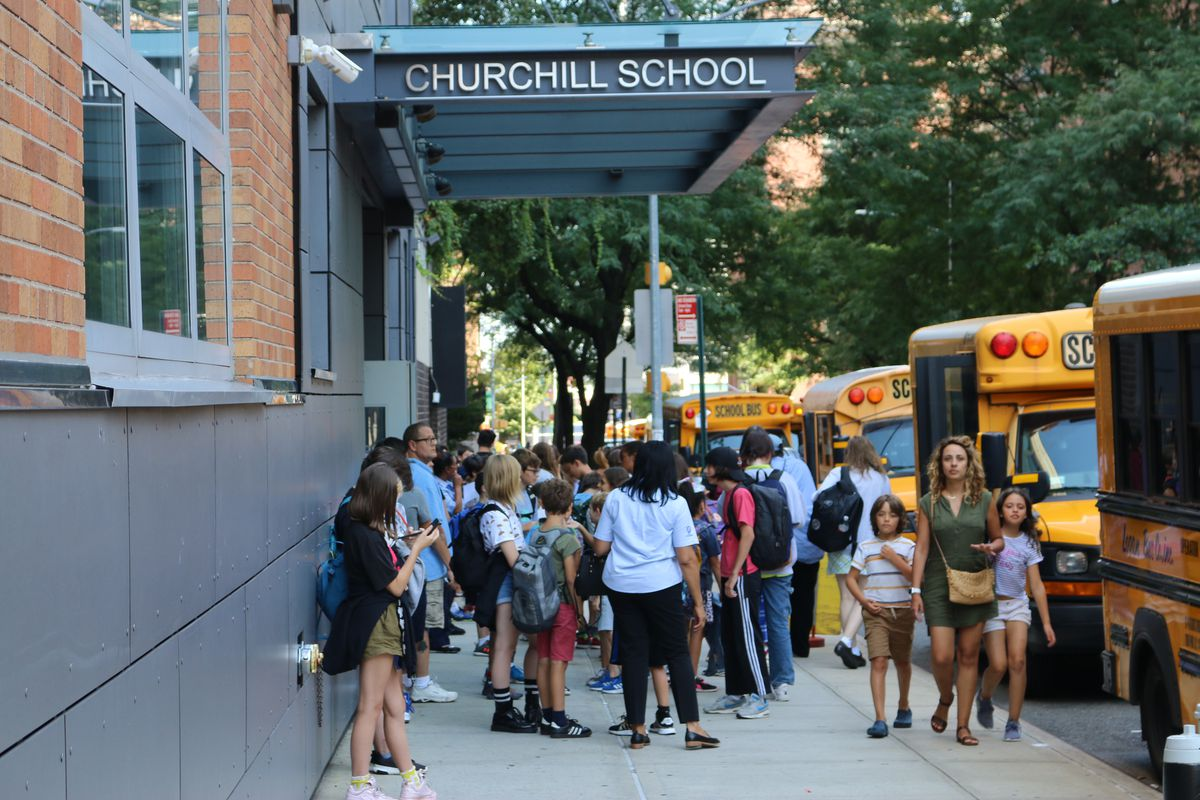 Students outside the private Churchill School in Manhattan.