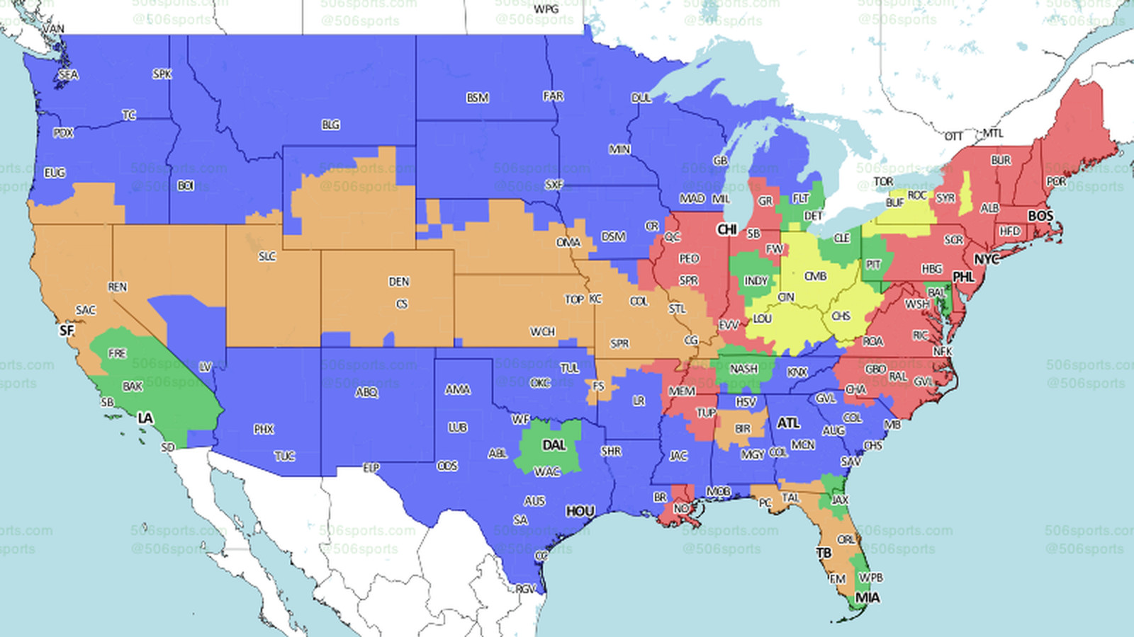 NFL Week 11 Broadcast Map - Turf Show Times