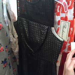 Black eyelet overlay dress, $100