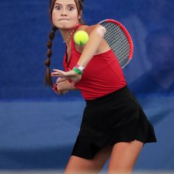 Grantsville's Sophie Crosby concentrates as she prepares to hit the ball as she and Morgan's Katelyn Steel play for the 3A state championship at Liberty Park in Salt Lake City on Saturday, Oct. 9, 2021.