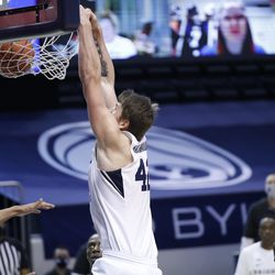 BYU center Richard Harward (42) dunks the ball during the Cougars' 87-71 victory over Texas Southern at the Marriott Center in Provo on Monday, Dec. 21, 2020.