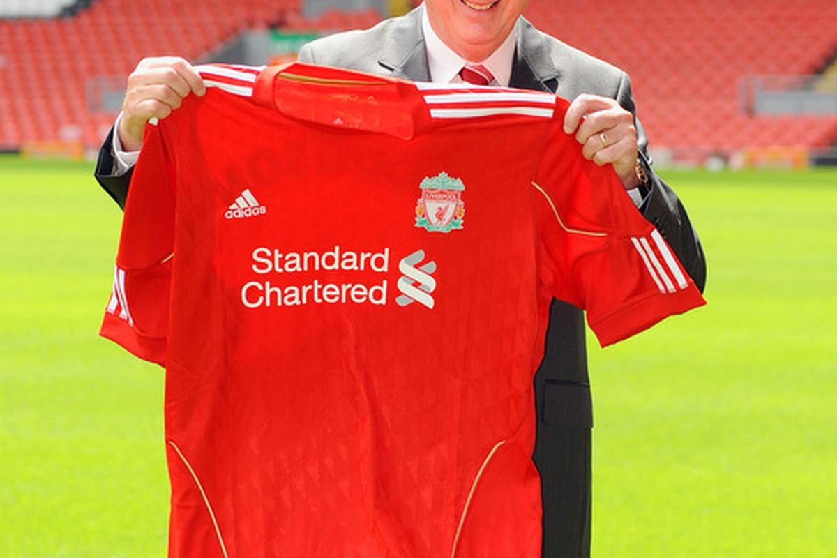 LIVERPOOL UNITED KINGDOM - JULY 01:  Roy Hodgson is unveiled as the new Liverpool FC manager at Anfield on July 01 2010 in Liverpool England. (Photo by Clint Hughes/Getty Images)