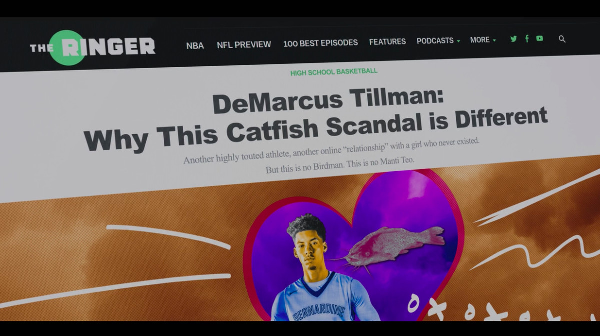 Screenshot of a fake Ringer story from 'American Vandal' with the headline 'DeMarcus Tillman: Why This Catfish Scandal Is Different'